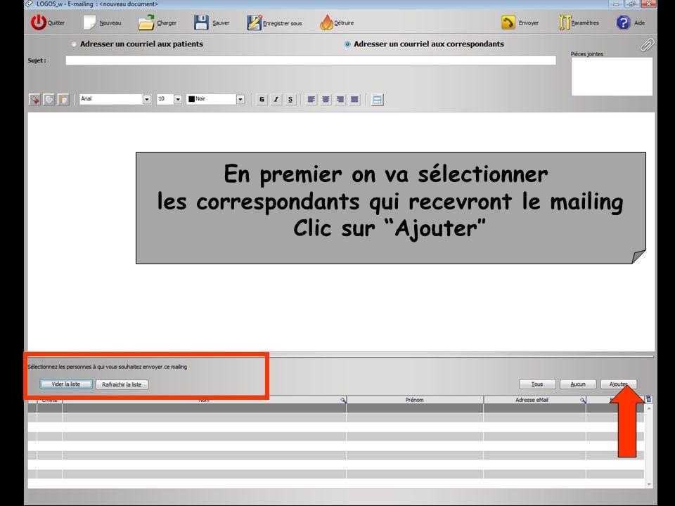 Les e-mailing ainsi enregistrés pourront être récupérés par licône Charger Pour un nouvel envoi Pour servir de modèle, être modifié et enregistré sous un autre nom pour un autre envoi
