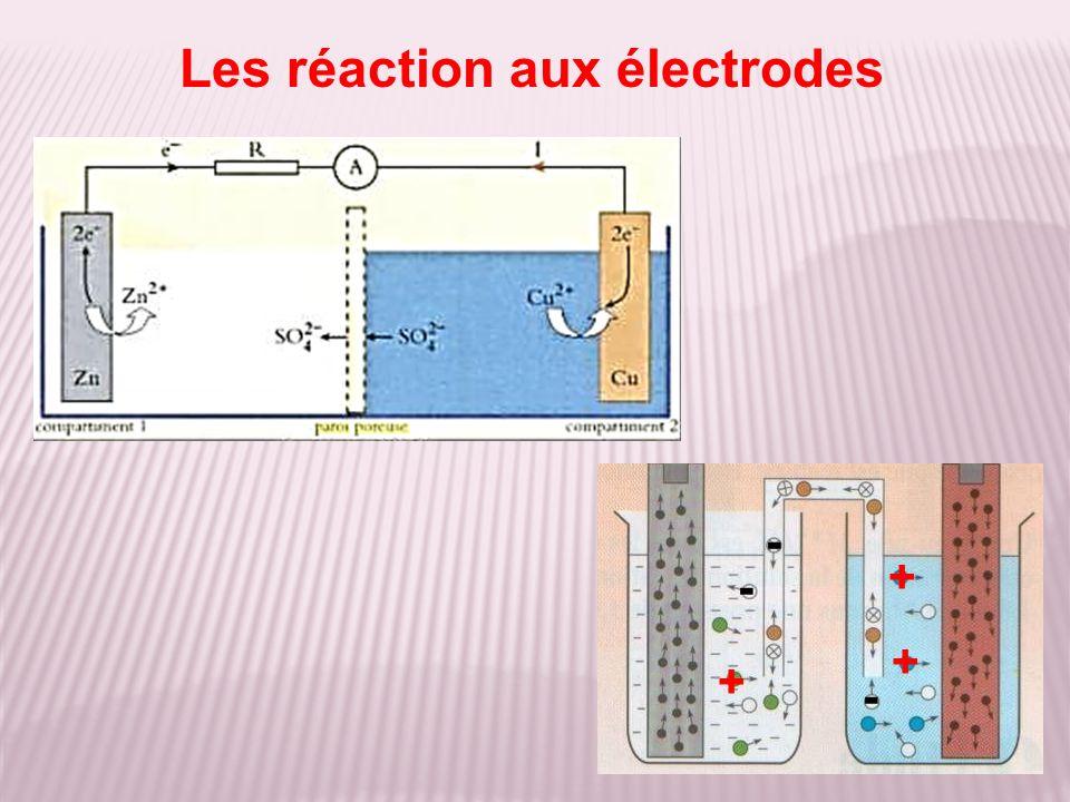 Les réaction aux électrodes + - + - + -