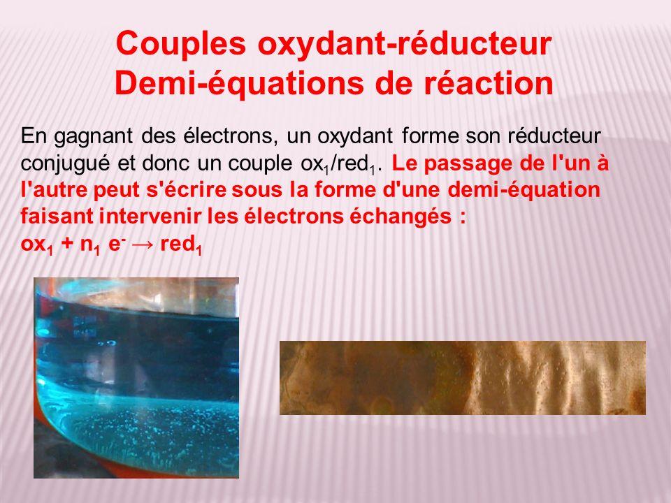 En gagnant des électrons, un oxydant forme son réducteur conjugué et donc un couple ox 1 /red 1. Le passage de l'un à l'autre peut s'écrire sous la fo