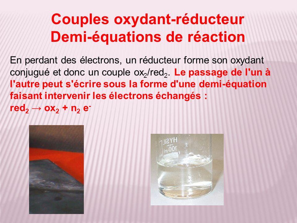 En perdant des électrons, un réducteur forme son oxydant conjugué et donc un couple ox 2 /red 2. Le passage de l'un à l'autre peut s'écrire sous la fo