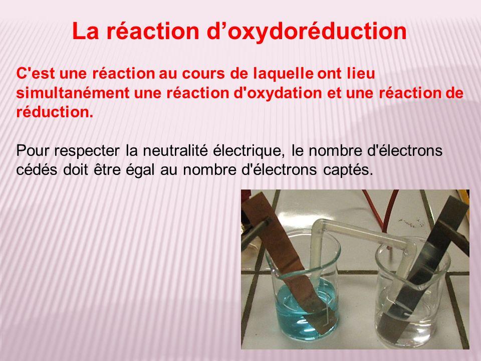 C'est une réaction au cours de laquelle ont lieu simultanément une réaction d'oxydation et une réaction de réduction. Pour respecter la neutralité éle