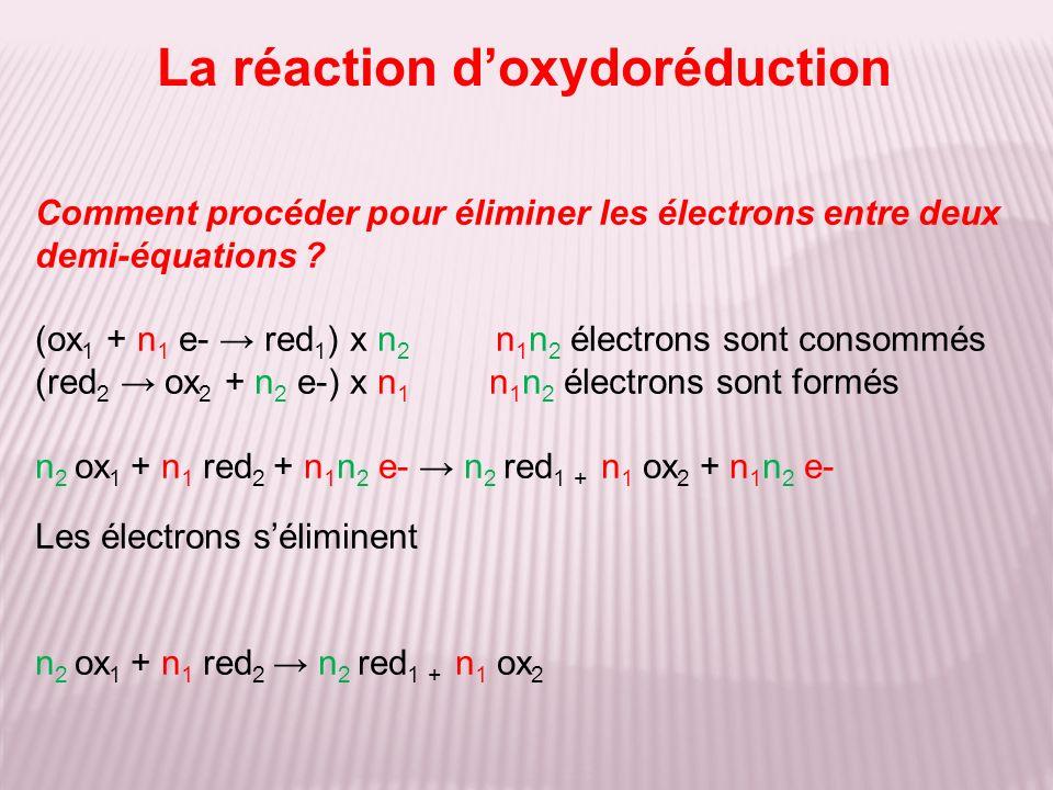 Comment procéder pour éliminer les électrons entre deux demi-équations ? (ox 1 + n 1 e- red 1 ) x n 2 n 1 n 2 électrons sont consommés (red 2 ox 2 + n