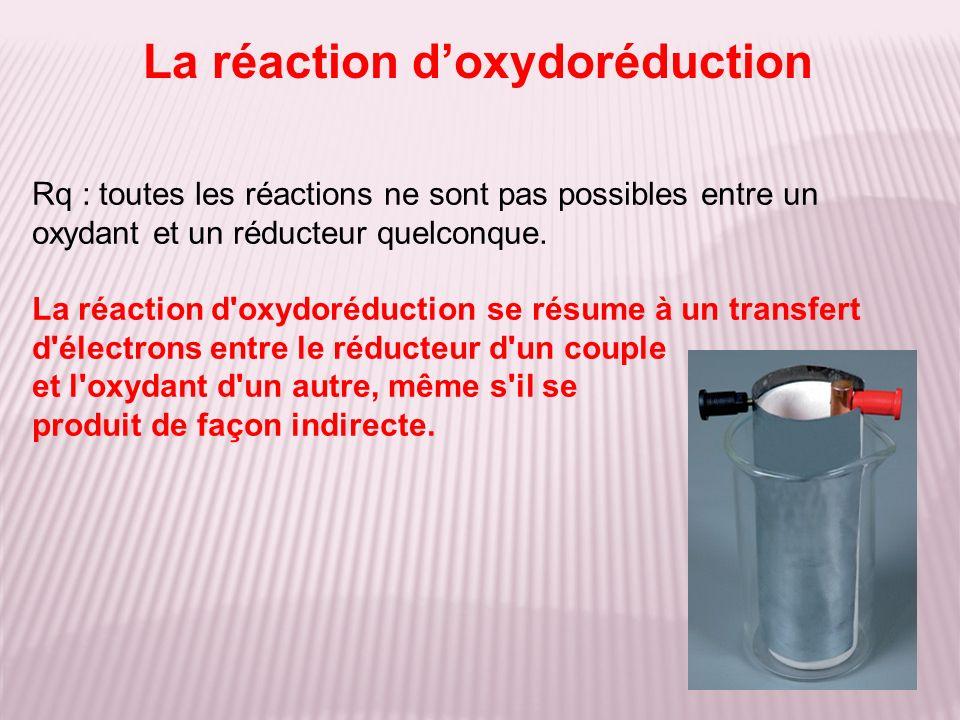 Rq : toutes les réactions ne sont pas possibles entre un oxydant et un réducteur quelconque. La réaction d'oxydoréduction se résume à un transfert d'é