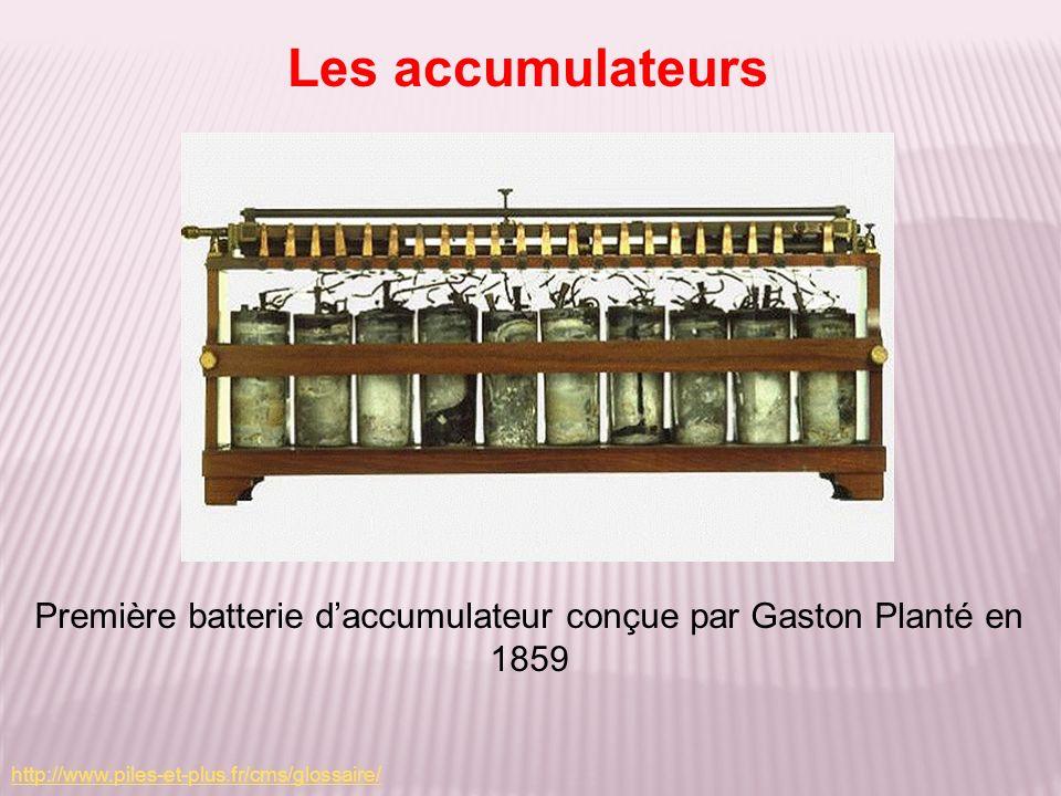 Première batterie daccumulateur conçue par Gaston Planté en 1859 Les accumulateurs http://www.piles-et-plus.fr/cms/glossaire/