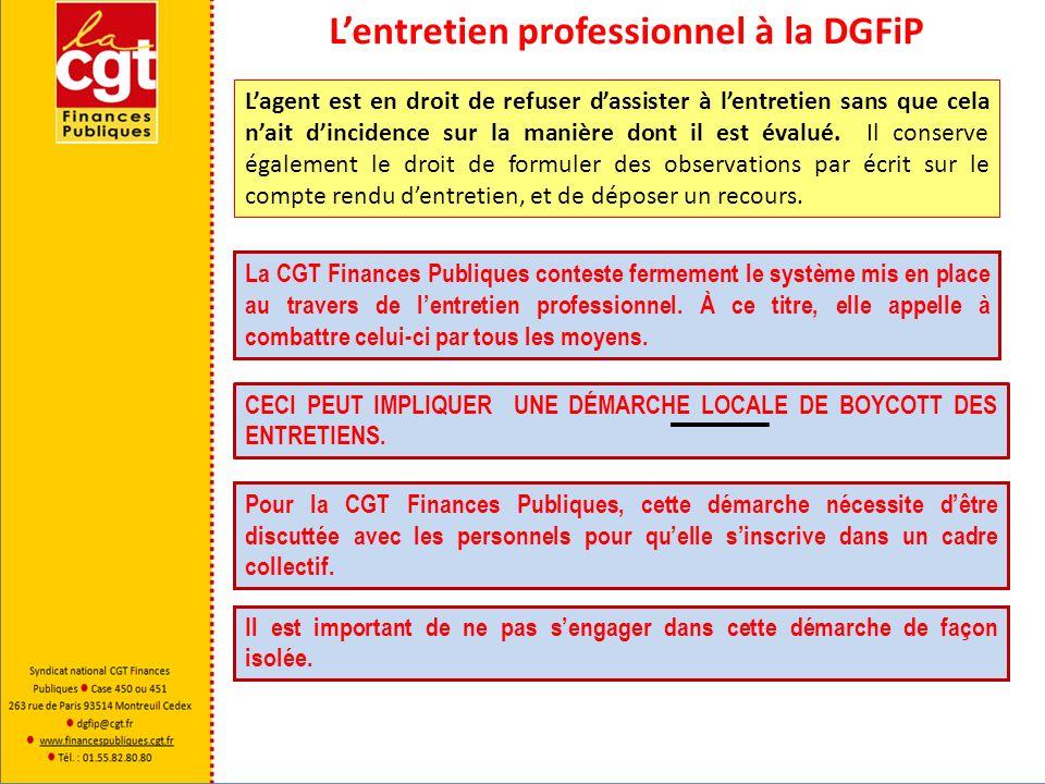 Lentretien professionnel à la DGFiP Lagent est en droit de refuser dassister à lentretien sans que cela nait dincidence sur la manière dont il est éva