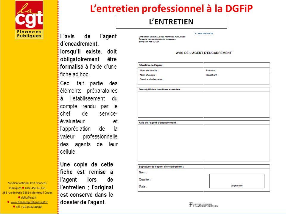 Lentretien professionnel à la DGFiP LENTRETIEN Lavis de lagent dencadrement, lorsquil existe, doit obligatoirement être formalisé à laide dune fiche a
