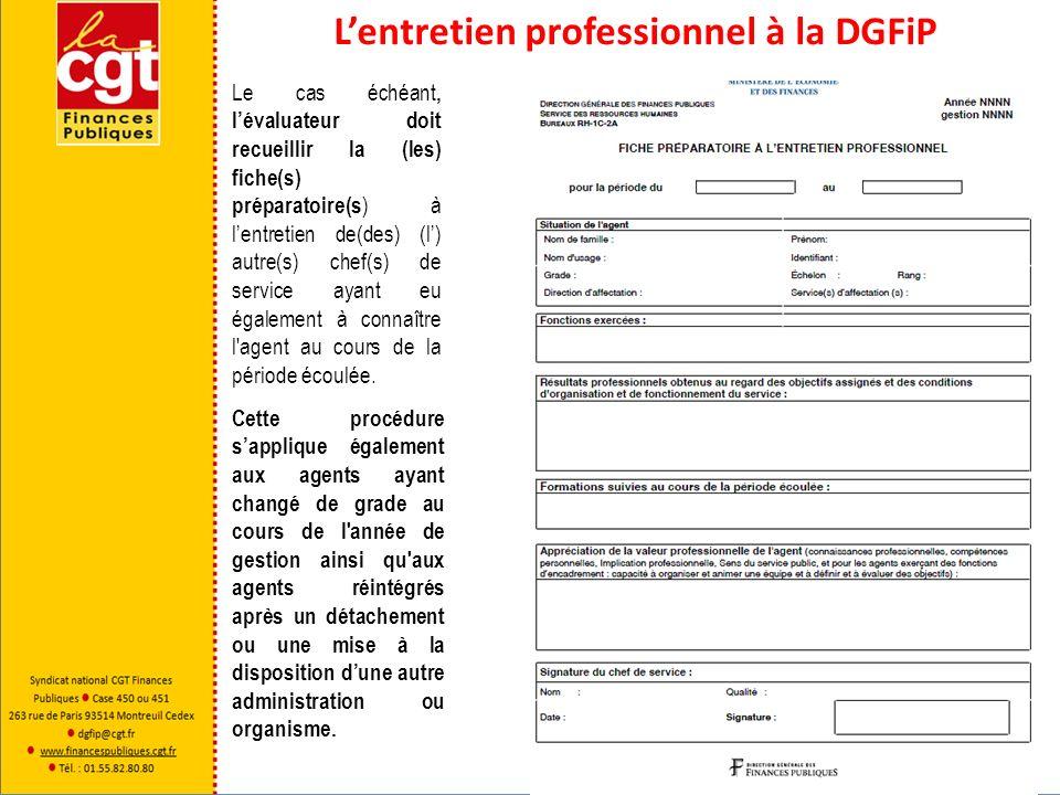 Lentretien professionnel à la DGFiP Le cas échéant, lévaluateur doit recueillir la (les) fiche(s) préparatoire(s ) à lentretien de(des) (l) autre(s) c