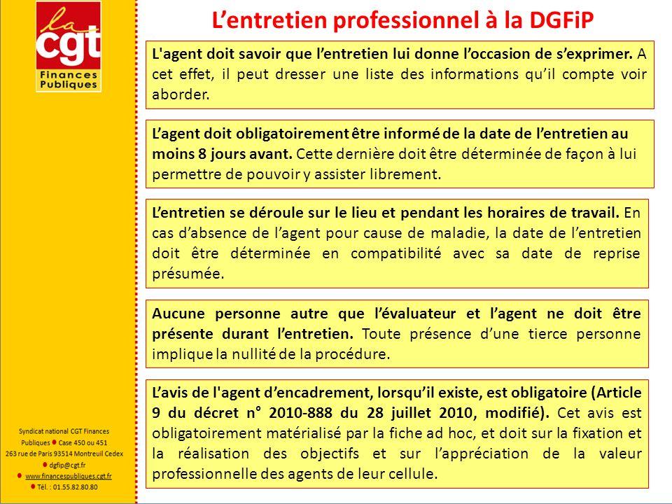 Lentretien professionnel à la DGFiP Lagent est en droit de refuser dassister à lentretien sans que cela nait dincidence sur la manière dont il est évalué.