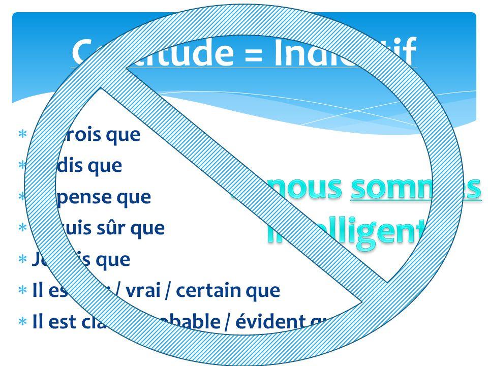 Certitude = Indicatif Je crois que Je dis que Je pense que Je suis sûr que Je sais que Il est sûr / vrai / certain que Il est clair / probable / évide