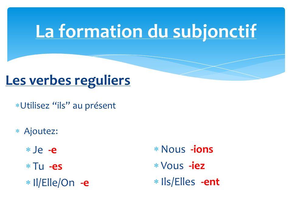 Les verbes irreguliers Faire – fass… Pouvoir – puiss… Savoir – sach… La formation du subjonctif
