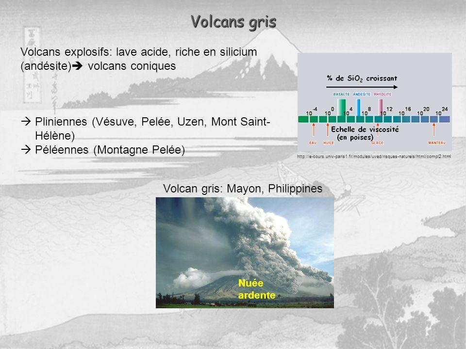 Volcans explosifs: lave acide, riche en silicium (andésite) volcans coniques Pliniennes (Vésuve, Pelée, Uzen, Mont Saint- Hélène) Péléennes (Montagne