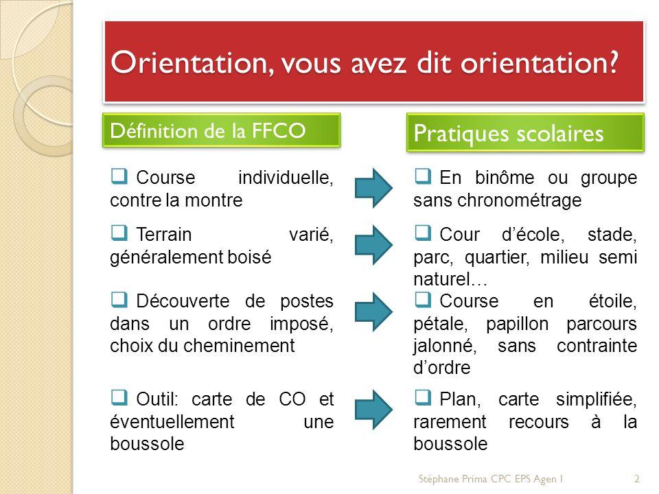 Orientation, vous avez dit orientation? Définition de la FFCO Pratiques scolaires Course individuelle, contre la montre Terrain varié, généralement bo