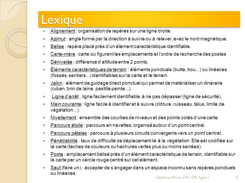 LexiqueLexique Alignement : organisation de repères sur une ligne droite. Azimut : angle formé par la direction à suivre ou à relever, avec le nord ma