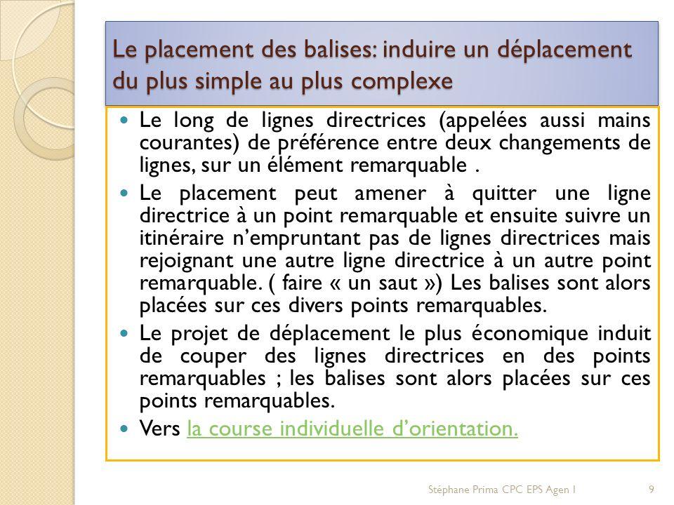 Le placement des balises: induire un déplacement du plus simple au plus complexe Le long de lignes directrices (appelées aussi mains courantes) de pré