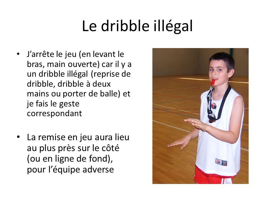 Le dribble illégal Jarrête le jeu (en levant le bras, main ouverte) car il y a un dribble illégal (reprise de dribble, dribble à deux mains ou porter