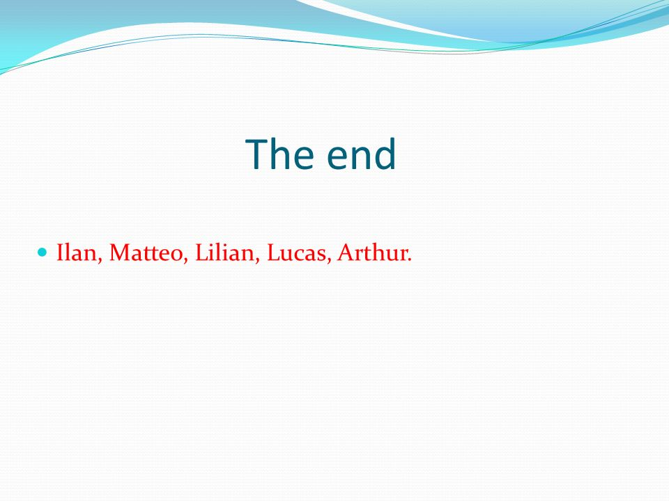 The end Ilan, Matteo, Lilian, Lucas, Arthur.
