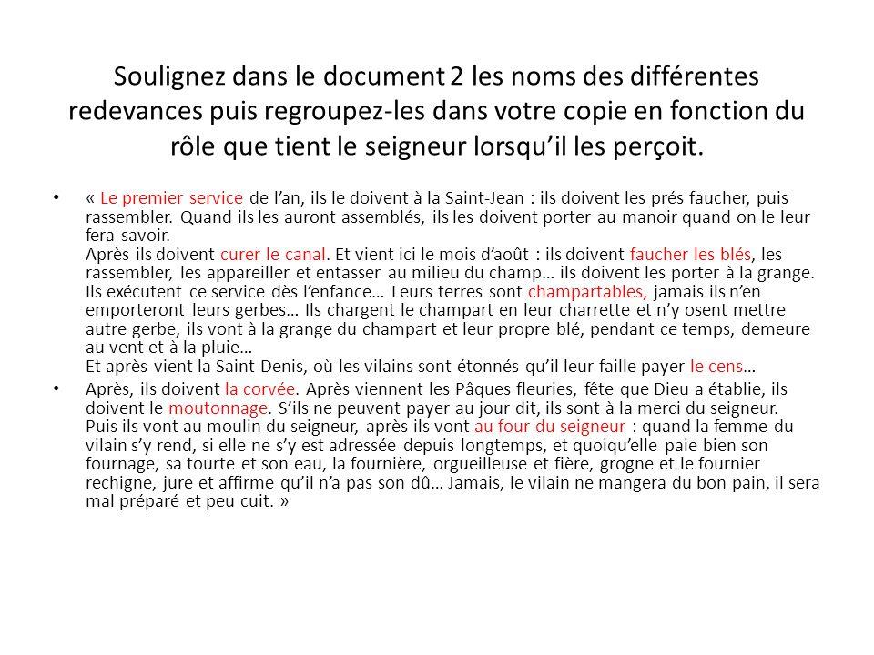 Soulignez dans le document 2 les noms des différentes redevances puis regroupez-les dans votre copie en fonction du rôle que tient le seigneur lorsqui