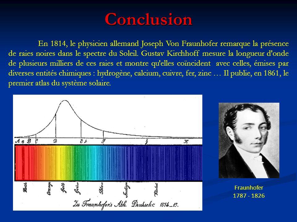 Conclusion Fraunhofer 1787 - 1826 En 1814, le physicien allemand Joseph Von Fraunhofer remarque la présence de raies noires dans le spectre du Soleil.