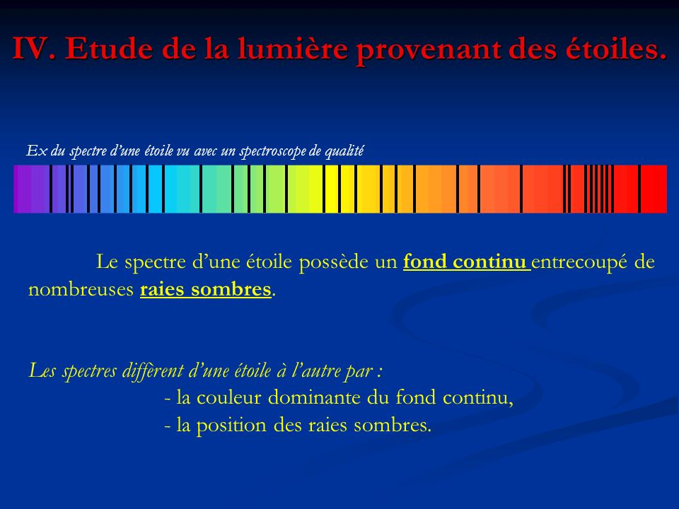 IV. Etude de la lumière provenant des étoiles. Le spectre dune étoile possède un fond continu entrecoupé de nombreuses raies sombres. Les spectres dif
