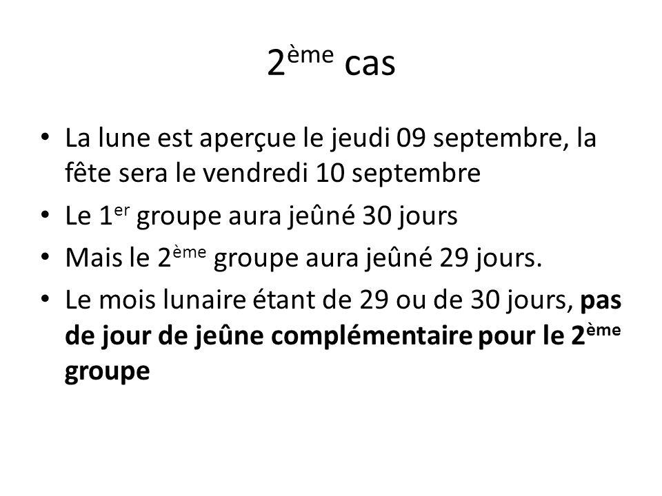 2 ème cas La lune est aperçue le jeudi 09 septembre, la fête sera le vendredi 10 septembre Le 1 er groupe aura jeûné 30 jours Mais le 2 ème groupe aura jeûné 29 jours.