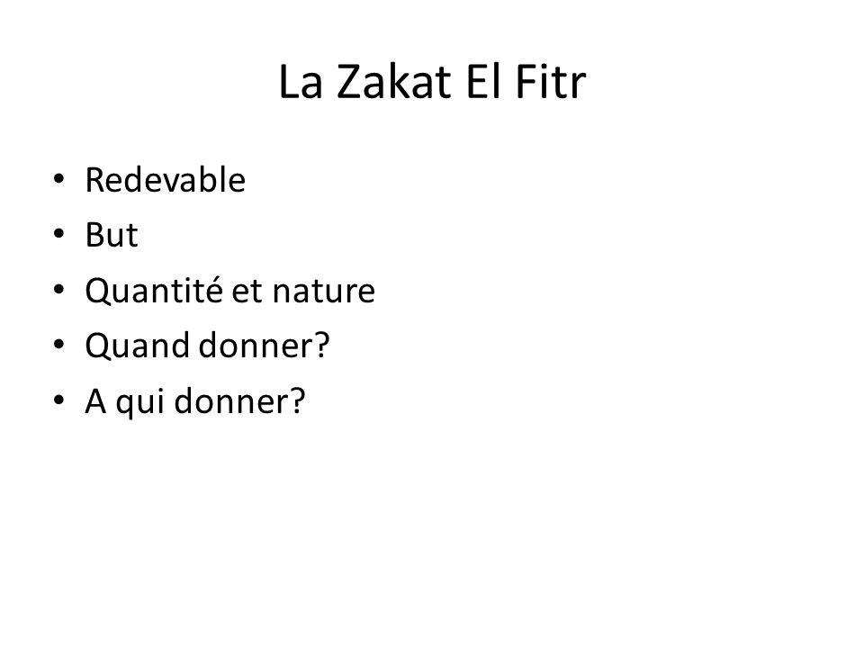 La Zakat El Fitr Redevable But Quantité et nature Quand donner? A qui donner?