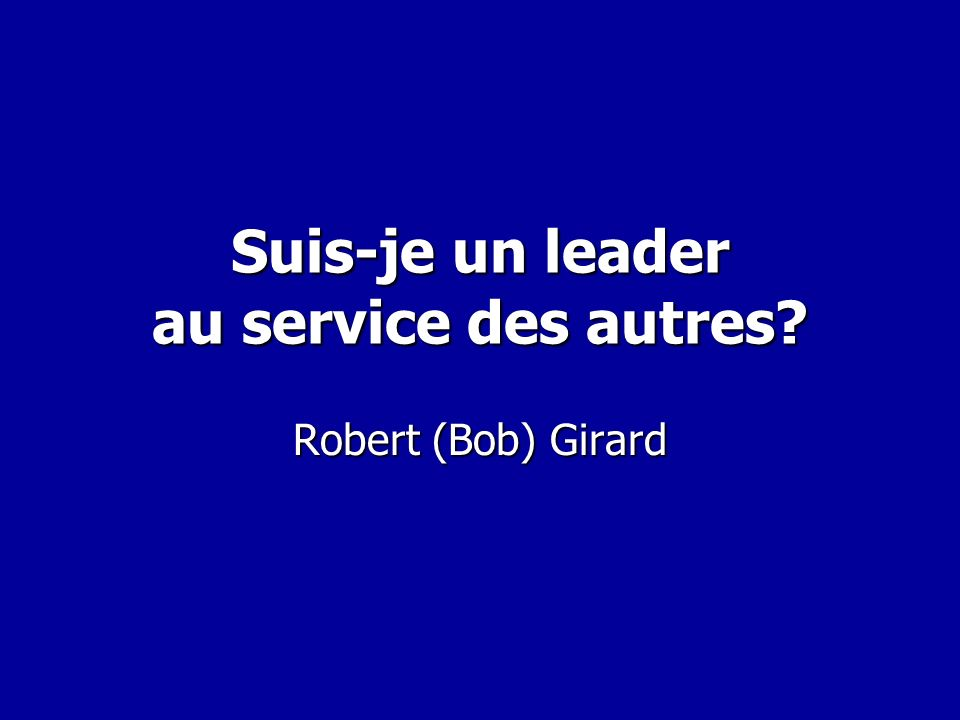 Une question….