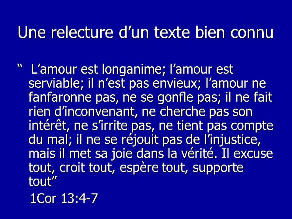 Une relecture dun texte bien connu Lamour est longanime; lamour est serviable; il nest pas envieux; lamour ne fanfaronne pas, ne se gonfle pas; il ne