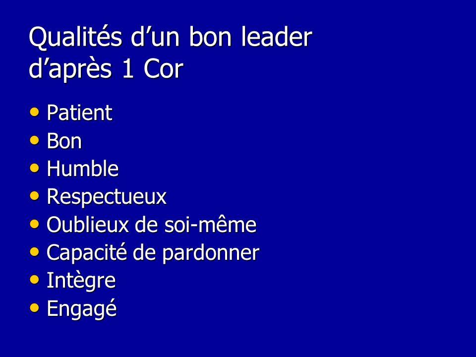 Qualités dun bon leader daprès 1 Cor Patient Patient Bon Bon Humble Humble Respectueux Respectueux Oublieux de soi-même Oublieux de soi-même Capacité