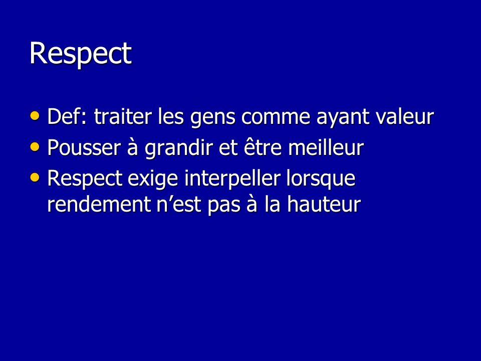 Respect Def: traiter les gens comme ayant valeur Def: traiter les gens comme ayant valeur Pousser à grandir et être meilleur Pousser à grandir et être