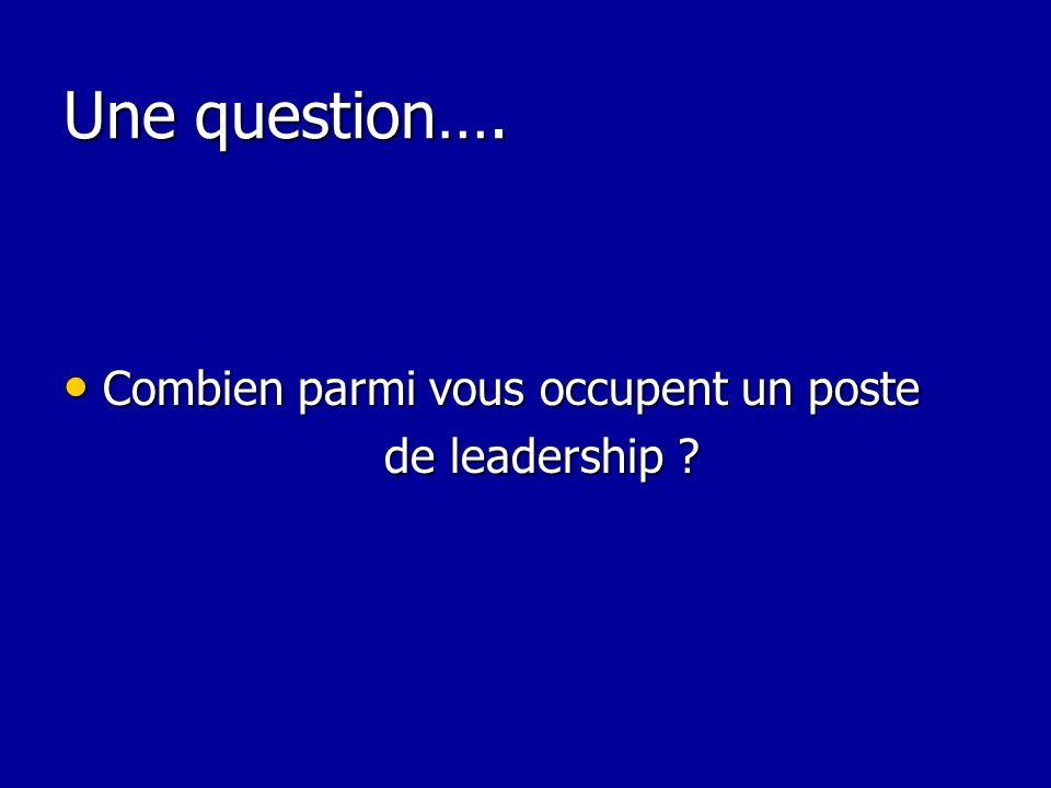 Une question…. Combien parmi vous occupent un poste Combien parmi vous occupent un poste de leadership ? de leadership ?