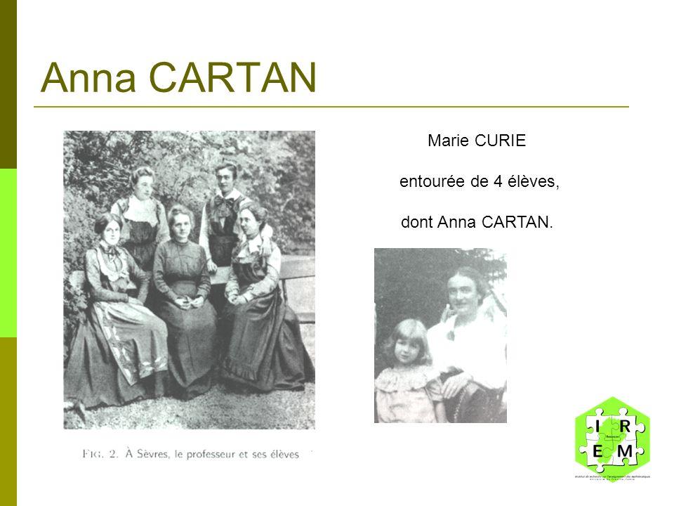 Anna CARTAN Marie CURIE entourée de 4 élèves, dont Anna CARTAN.