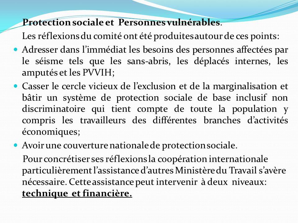 Protection sociale et Personnes vulnérables.