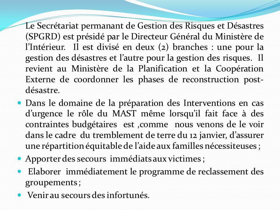 Le Secrétariat permanant de Gestion des Risques et Désastres (SPGRD) est présidé par le Directeur Général du Ministère de lIntérieur.