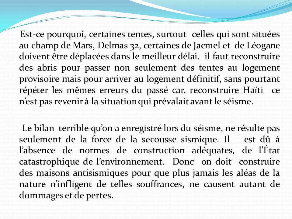 Est-ce pourquoi, certaines tentes, surtout celles qui sont situées au champ de Mars, Delmas 32, certaines de Jacmel et de Léogane doivent être déplacées dans le meilleur délai.