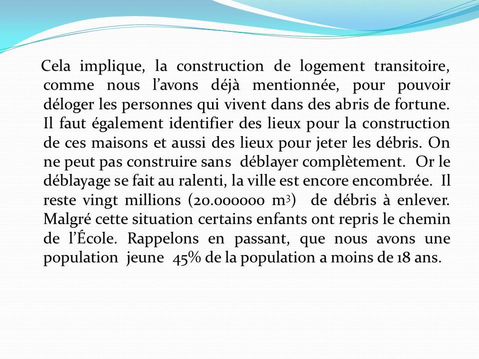 Cela implique, la construction de logement transitoire, comme nous lavons déjà mentionnée, pour pouvoir déloger les personnes qui vivent dans des abris de fortune.