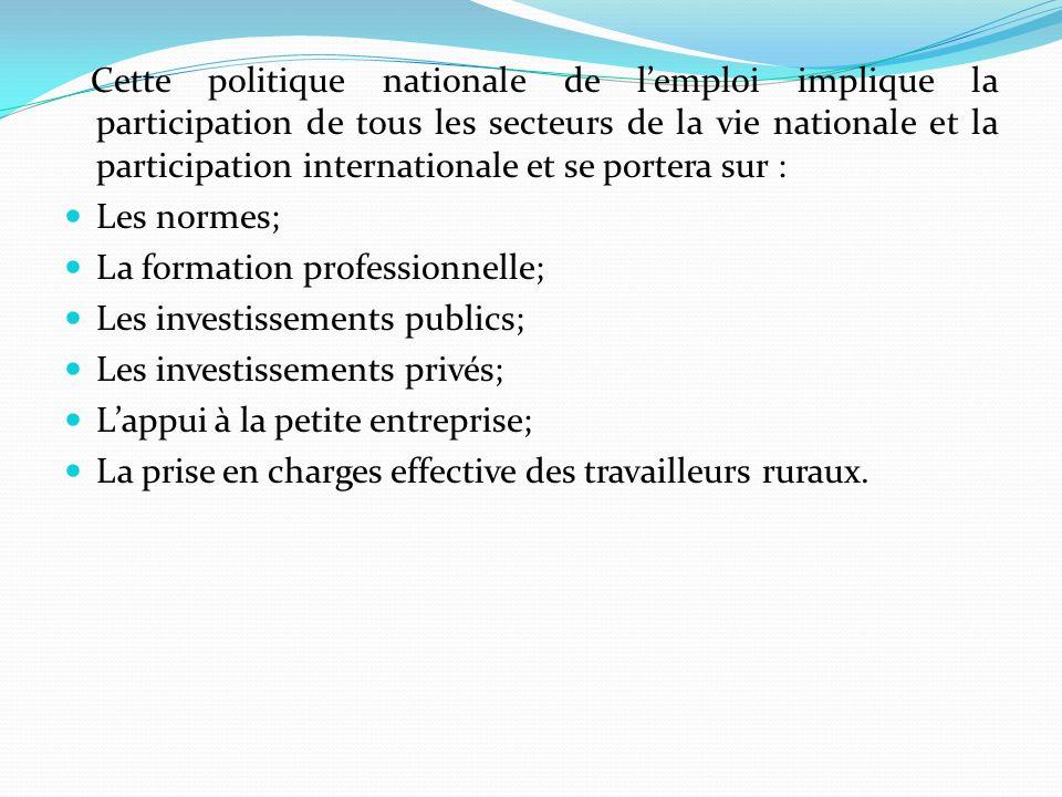 Cette politique nationale de lemploi implique la participation de tous les secteurs de la vie nationale et la participation internationale et se portera sur : Les normes; La formation professionnelle; Les investissements publics; Les investissements privés; Lappui à la petite entreprise; La prise en charges effective des travailleurs ruraux.
