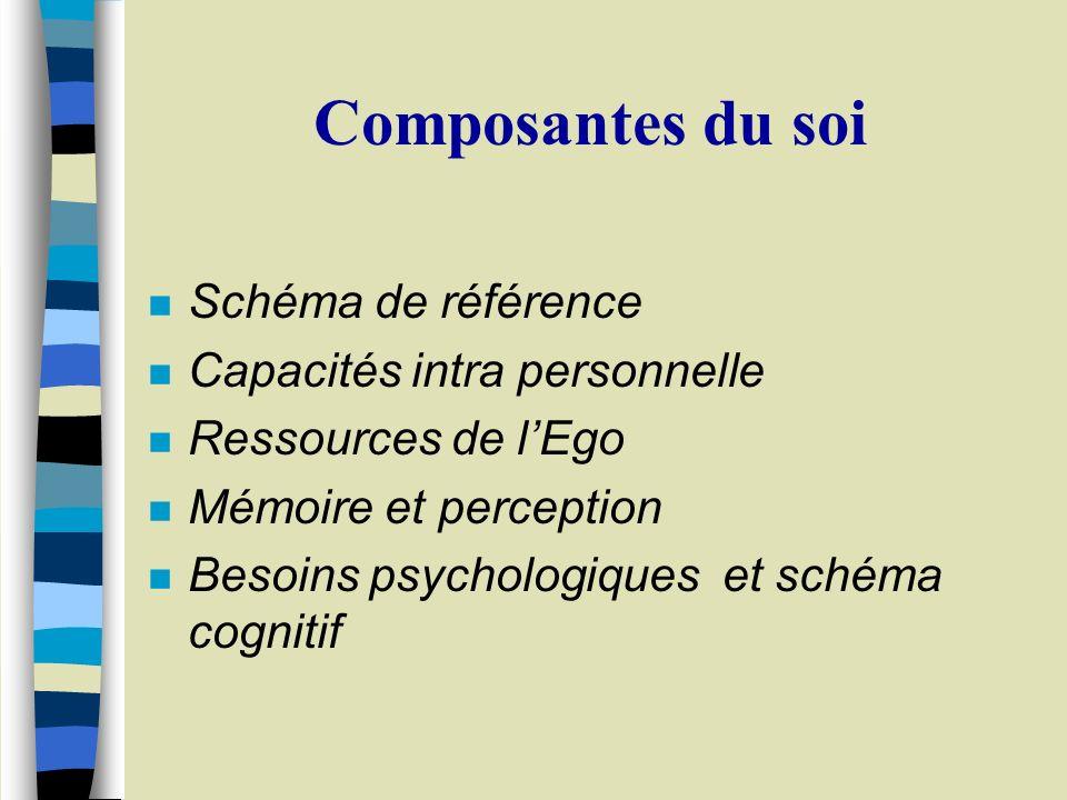 Composantes du soi n Schéma de référence n Capacités intra personnelle n Ressources de lEgo n Mémoire et perception n Besoins psychologiques et schéma cognitif