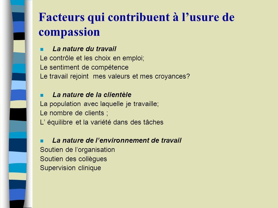Facteurs qui contribuent à lusure de compassion n La nature du travail Le contrôle et les choix en emploi; Le sentiment de compétence Le travail rejoint mes valeurs et mes croyances.