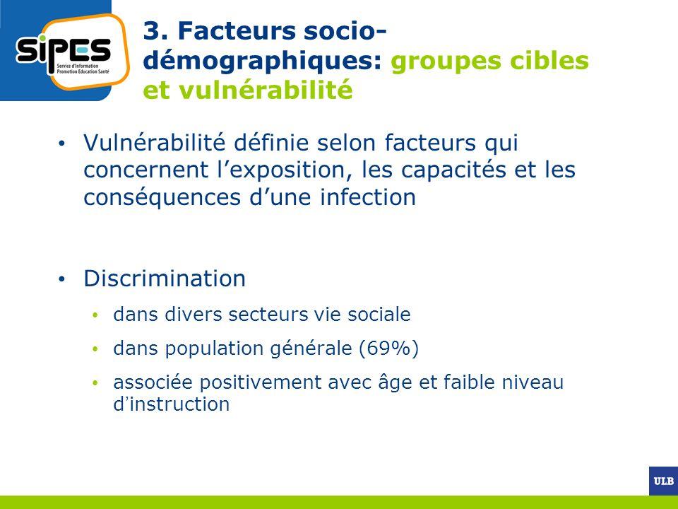 3. Facteurs socio- démographiques: groupes cibles et vulnérabilité Vulnérabilité définie selon facteurs qui concernent lexposition, les capacités et l