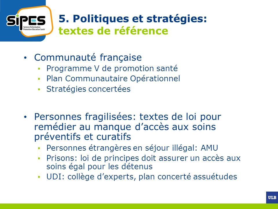 5. Politiques et stratégies: textes de référence Communauté française Programme V de promotion santé Plan Communautaire Opérationnel Stratégies concer