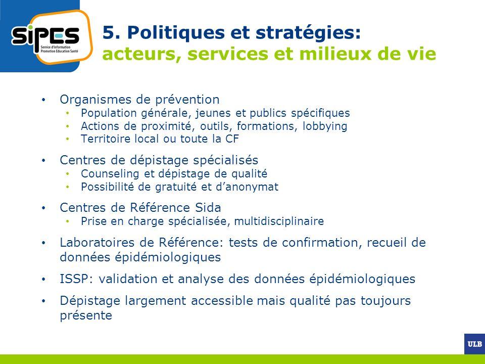 5. Politiques et stratégies: acteurs, services et milieux de vie Organismes de prévention Population générale, jeunes et publics spécifiques Actions d