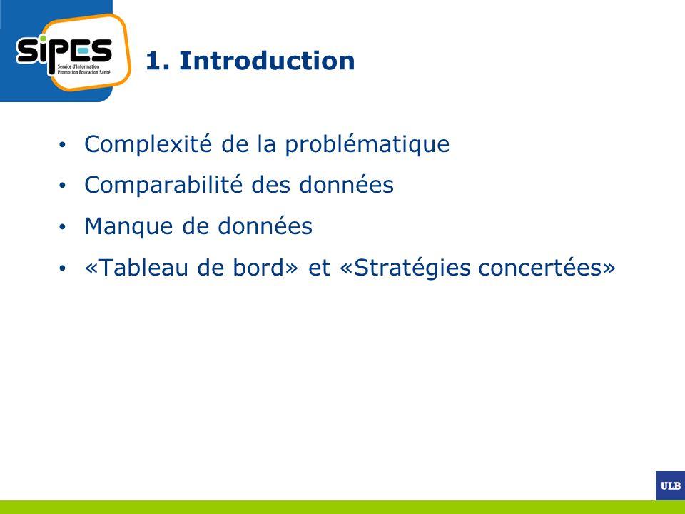 1. Introduction Complexité de la problématique Comparabilité des données Manque de données «Tableau de bord» et «Stratégies concertées»