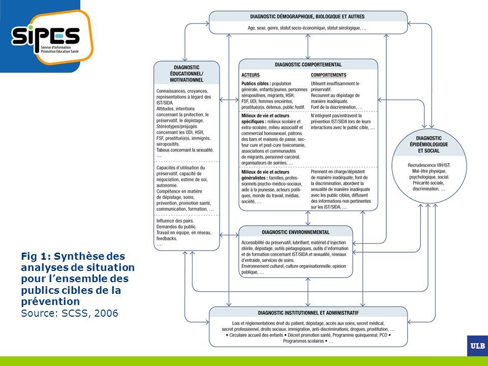 Fig 1: Synthèse des analyses de situation pour lensemble des publics cibles de la prévention Source: SCSS, 2006