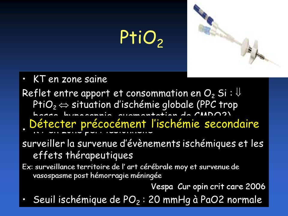 PtiO 2 KT en zone saine Reflet entre apport et consommation en O 2 Si : PtiO 2 situation dischémie globale (PPC trop basse, hypocapnie, augmentation d