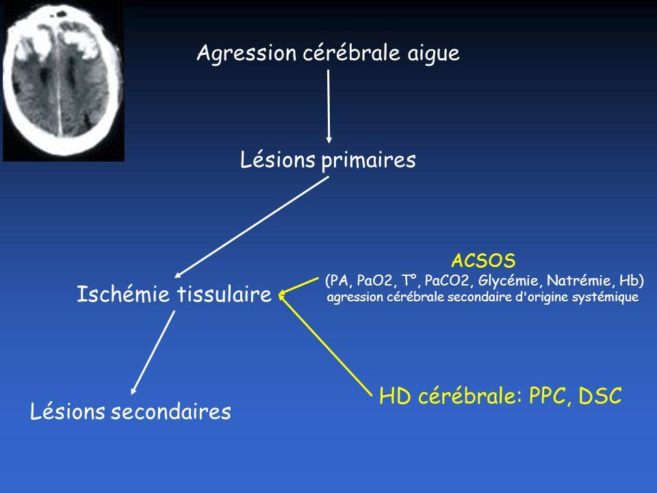 DSC PPC Métabolisme cérébral CMRO2 CO2 Fourcade AFAR 2006 PIC Dop transcranien Imagerie (PET scan) SvjO2 PtiO2 Microdialyse Couplage métabolique