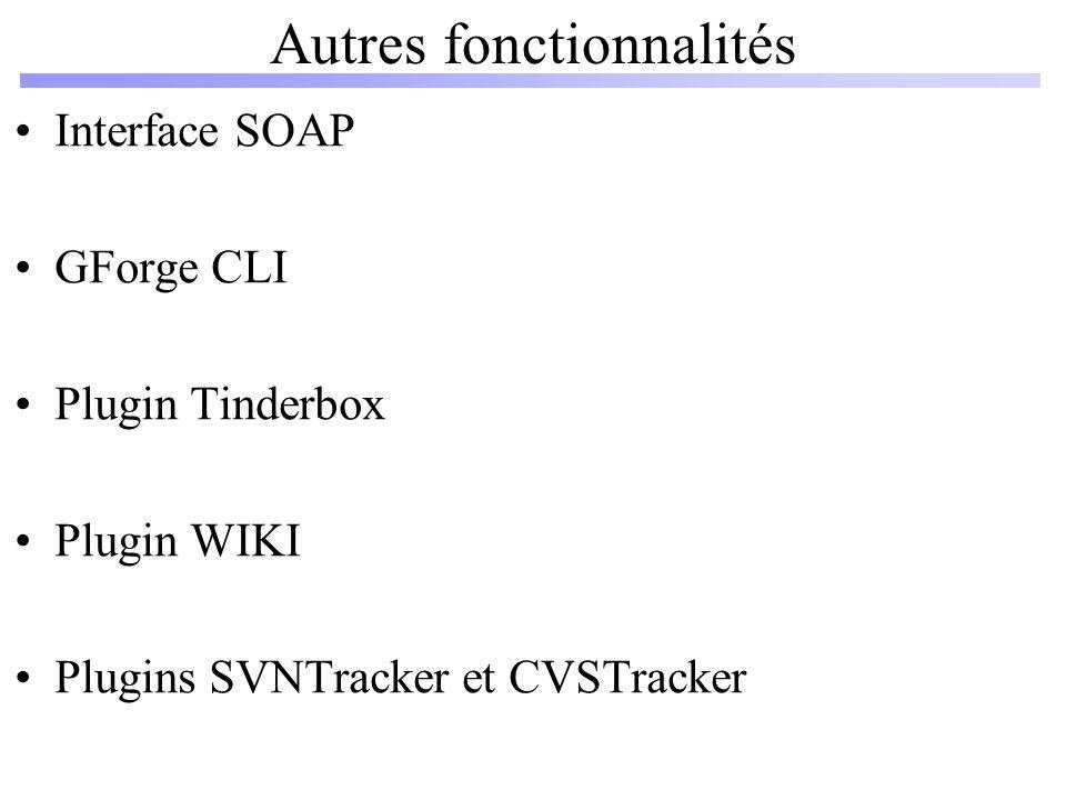 Interface SOAP GForge CLI Plugin Tinderbox Plugin WIKI Plugins SVNTracker et CVSTracker