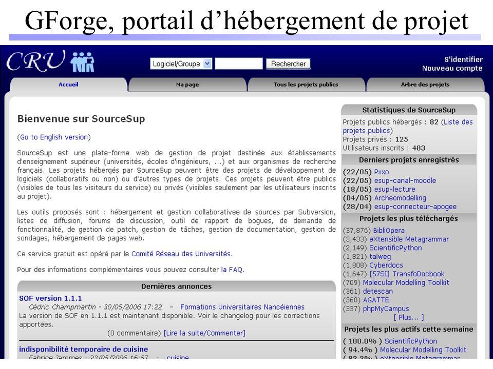 GForge, portail dhébergement de projet