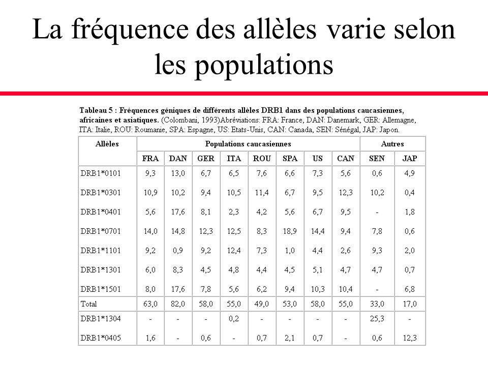 La fréquence des allèles varie selon les populations