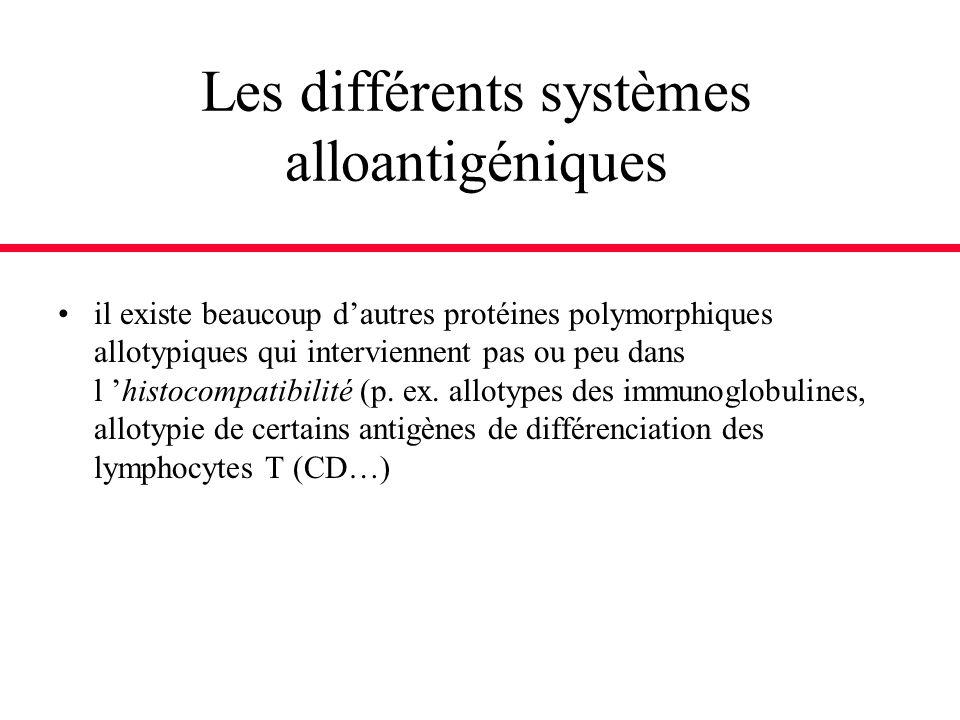 il existe beaucoup dautres protéines polymorphiques allotypiques qui interviennent pas ou peu dans l histocompatibilité (p. ex. allotypes des immunogl
