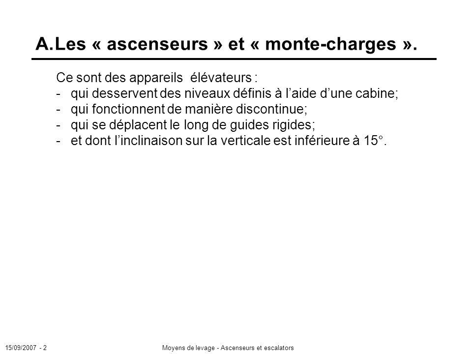 15/09/2007 - 2Moyens de levage - Ascenseurs et escalators A.Les « ascenseurs » et « monte-charges ».